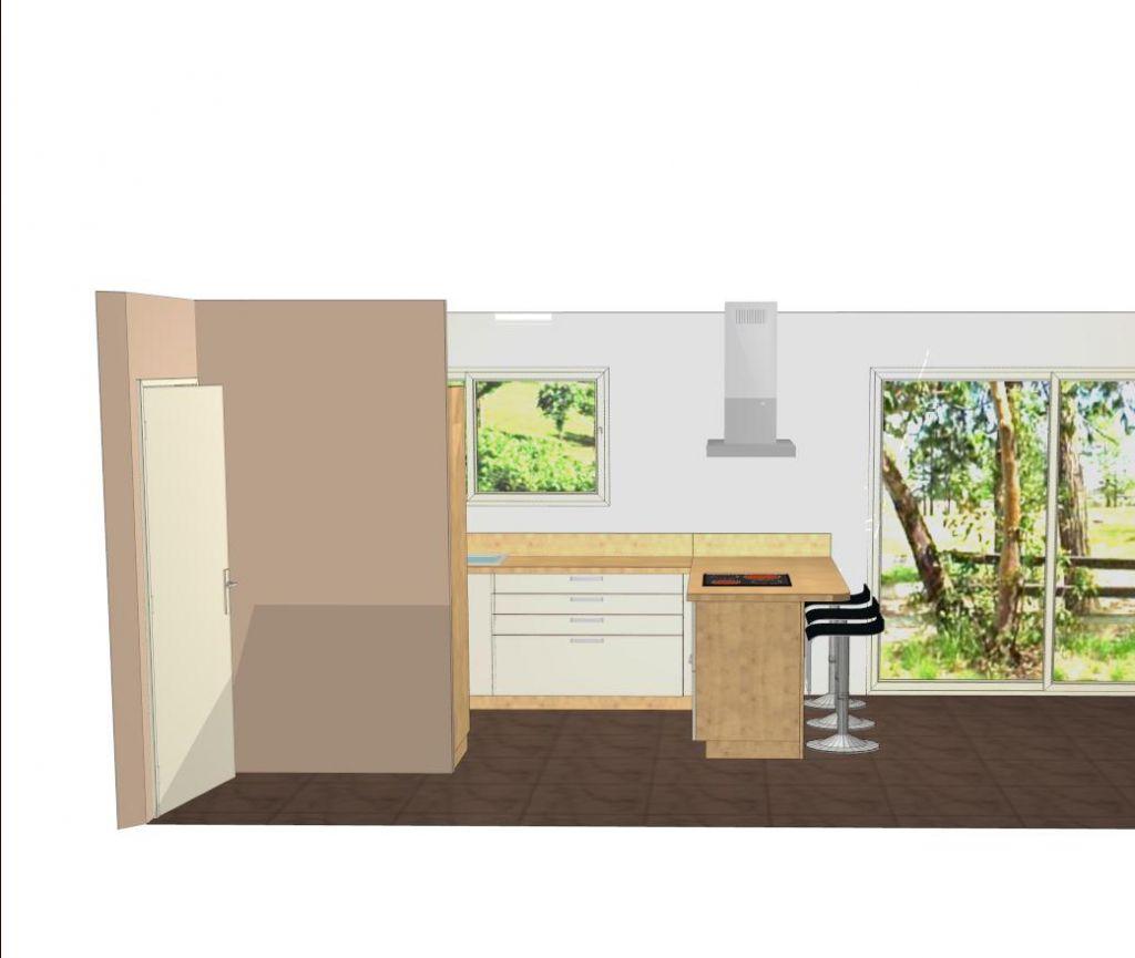 """Notre projet de cuisine Schmidt Arcos coloris """"wild oak"""" et """"Muscade"""" (le rendu n'est pas exceptionnel sur cette vue 3D). Le sol et la couleur des murs ne sont pas encore choisis."""