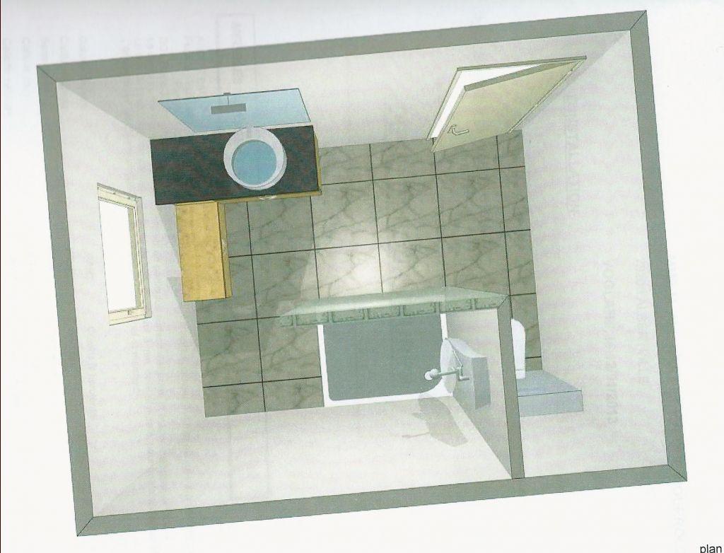 Une vue du dessus de l'implantation de la salle de bain.