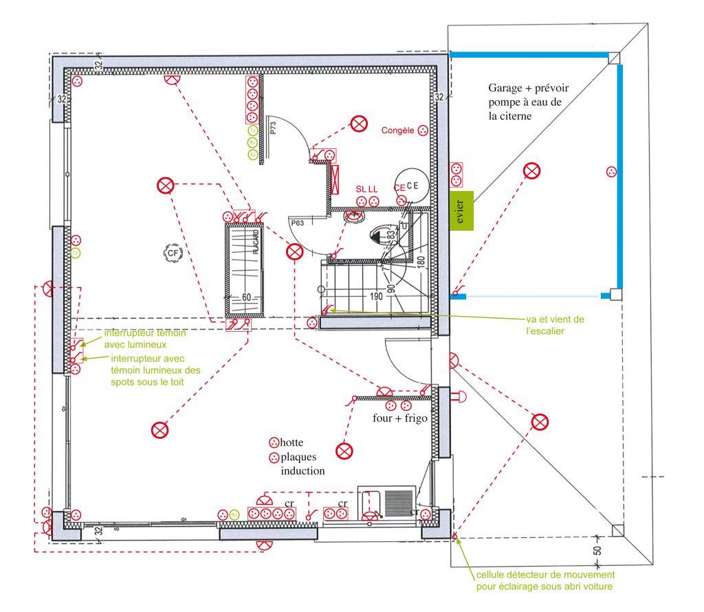 Préparation des plans électrique en vue de la réunion de préparation de chantier - Rez de chaussée