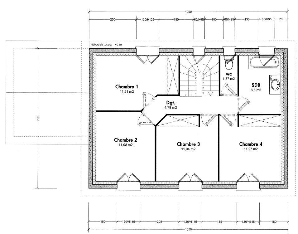 1er étage avec 4 chambres, sdb, Toilettes.