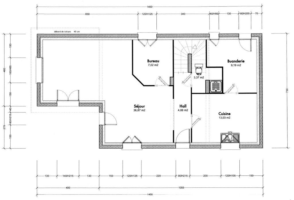 Le Rdc avec l?extension à gauche pour agrandir le salon et récupérer les m² utilisés pour la Buanderie.