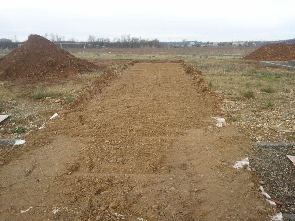 Le chemin d'accès au chantier.