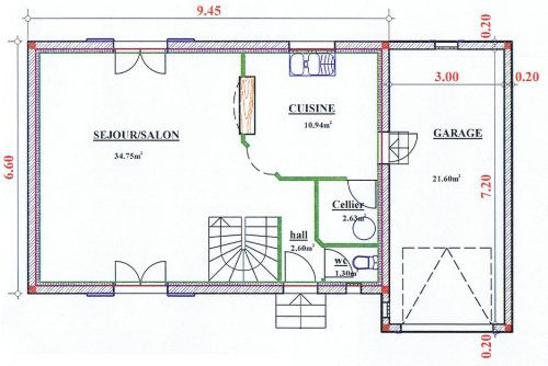 Plan Maison Tage 100M2. Cool Plan Maison M Plein Pied Plan Maison