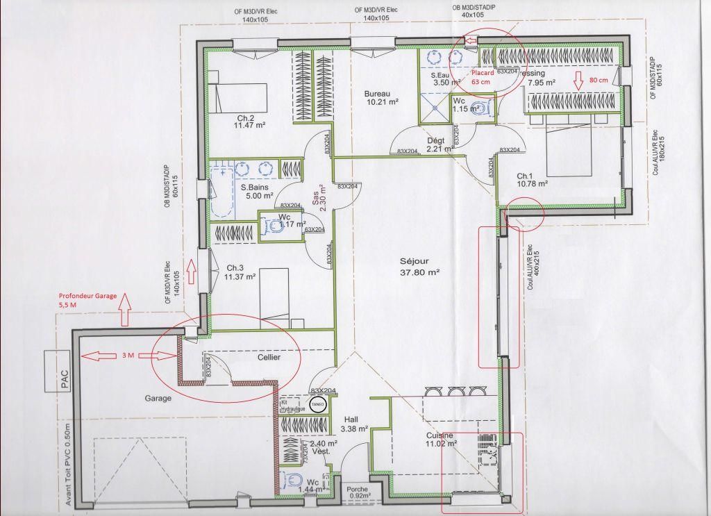 Avis plain pied 130 m et implantation garage 83 for Cuisine 4m
