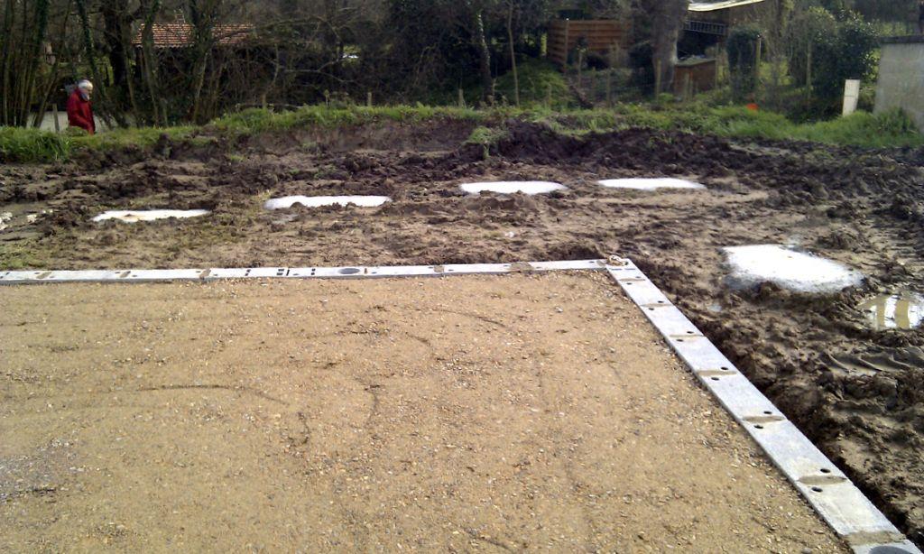 Fondations pour plots de la terrasse