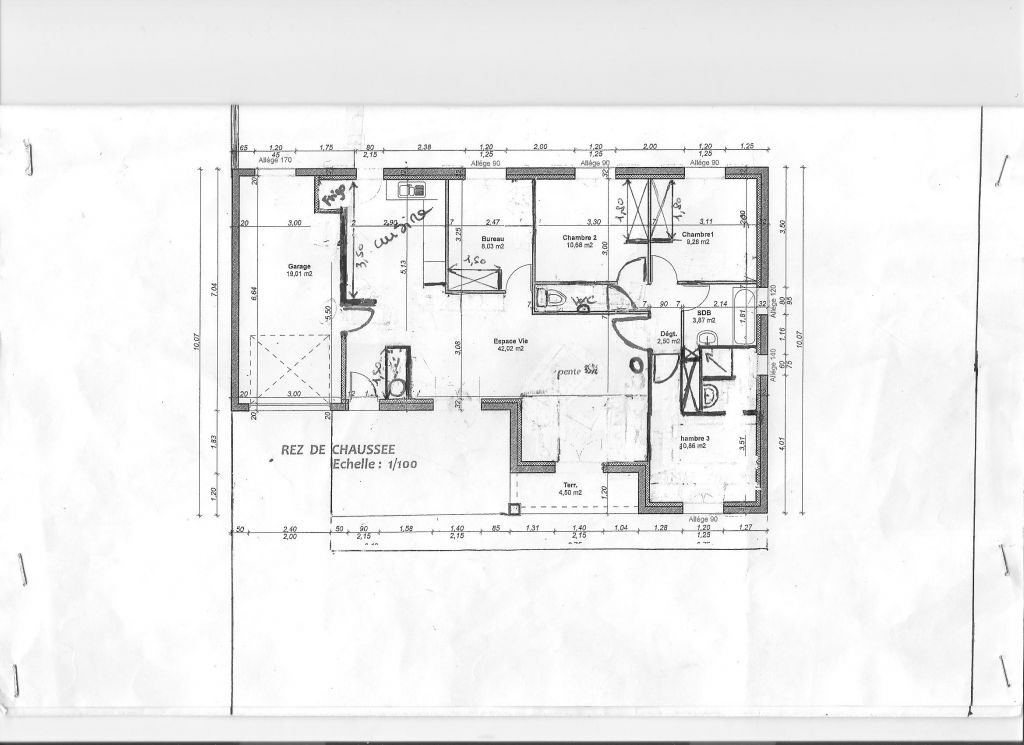 Extrait du plan de la maison définitif
