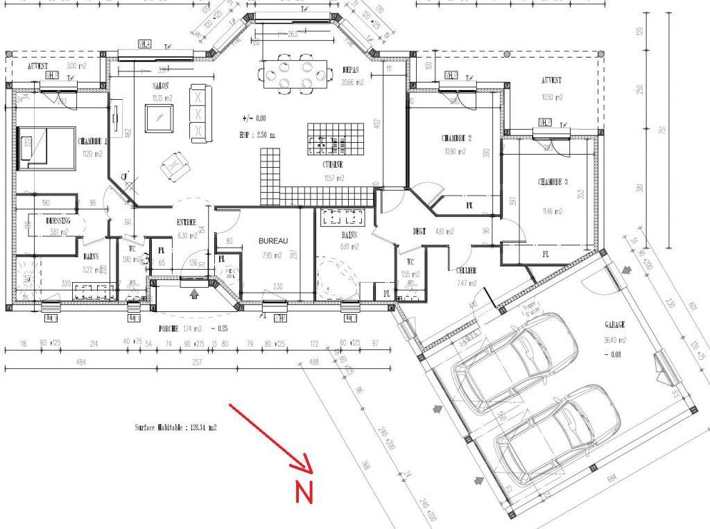 Plan déposé pour le permis de construire