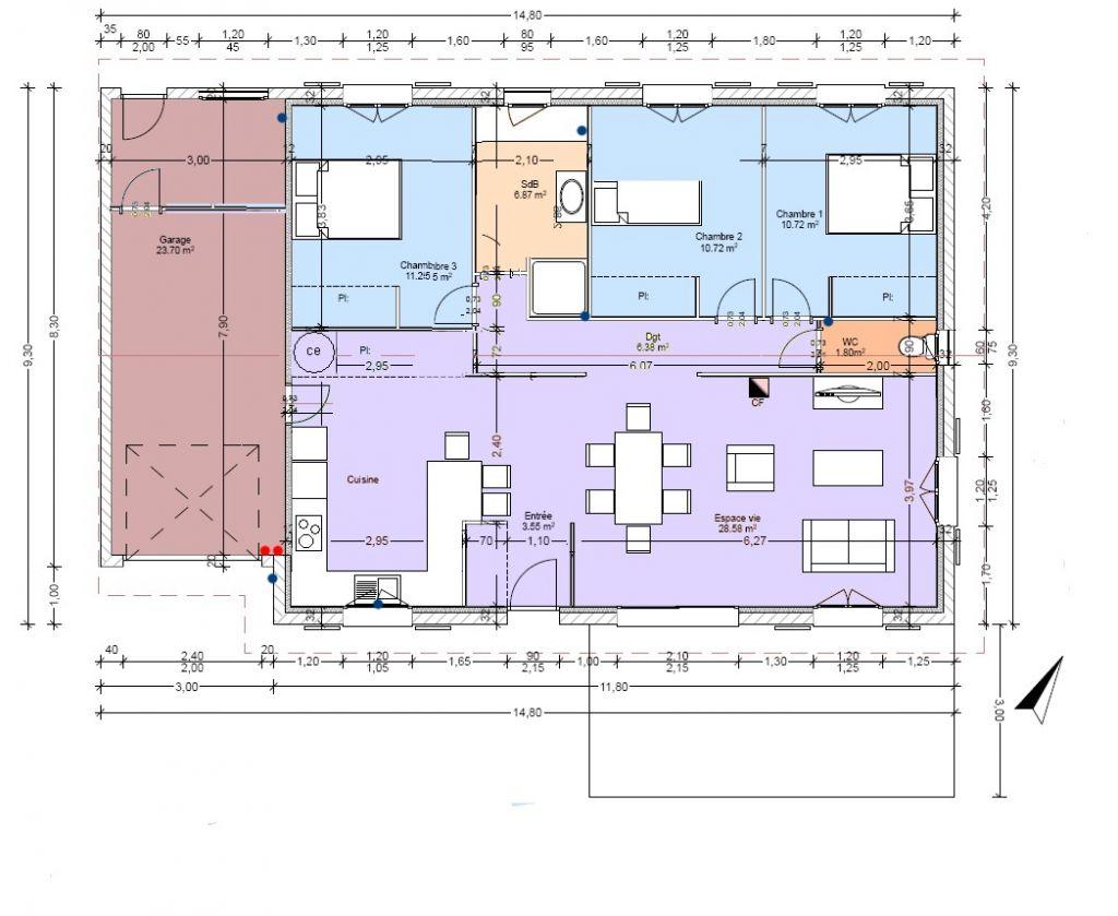 le plan définitif de la maison avec ses modifications <br /> les points bleus= arrivée d'eau; les points rouge: tableau elec et différenciel