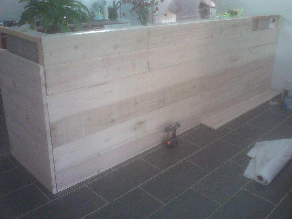 Fabrication bar pour cuisine americaine gers - Table en planche de coffrage ...