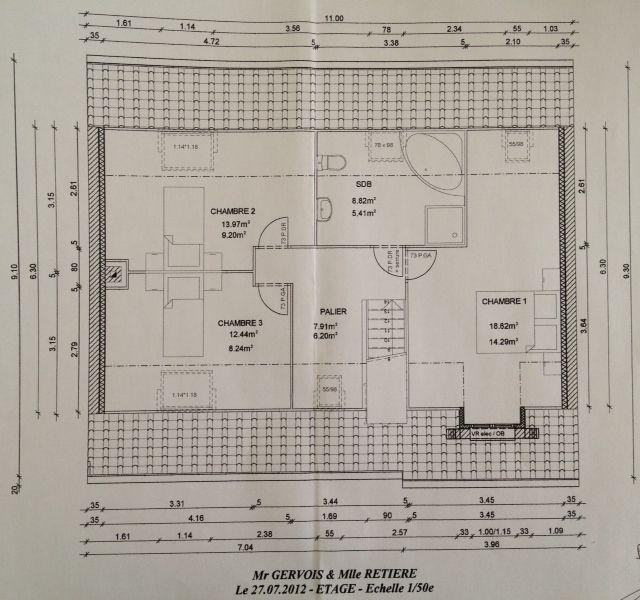 Plan définitif de l'étage.