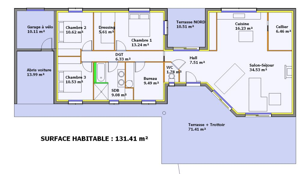plan de maison en longueur plan au sol plan de maison avec patio with plan de maison en. Black Bedroom Furniture Sets. Home Design Ideas