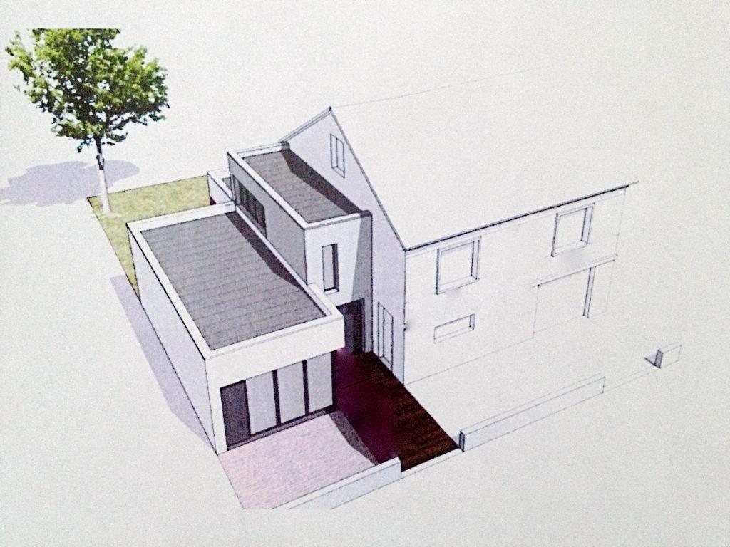 extension cubique à une maison des années 50