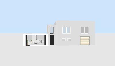 Vue 3D de la maison (sans son toit pente) et de l'extension en toit terrasse. Le cube central couvre l'escalier reliant ldes deux bâtiments