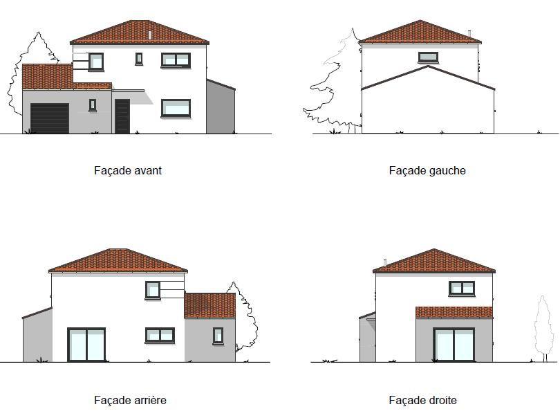 Vue 3D des cotés de la maison
