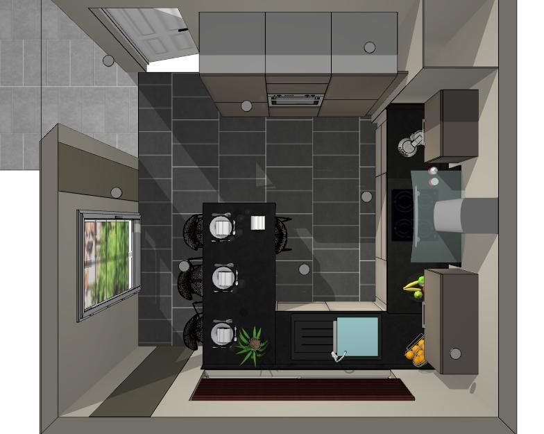 2ème version : le frigo est passé à gauche a côté du four et la table se place dans le prolongement du plan de travail