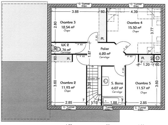 plan maison r+1 140m2