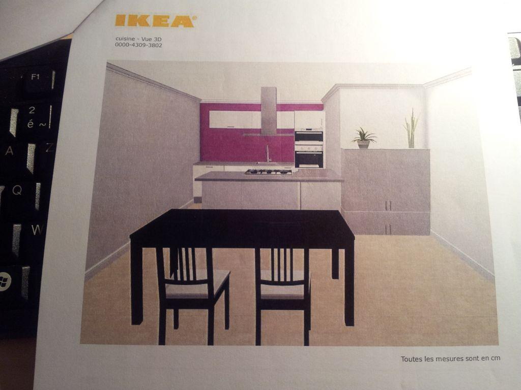 la vue 3D de notre future cuisine. A gauche de la table, il n'y aura pas de mur, ca sera le salon et l'accès aux chambres