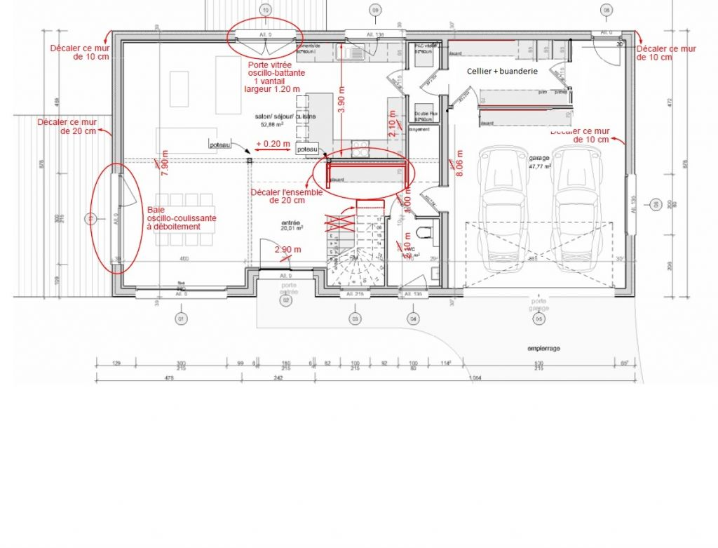 Modifs plan rdc cellier et rangements garage