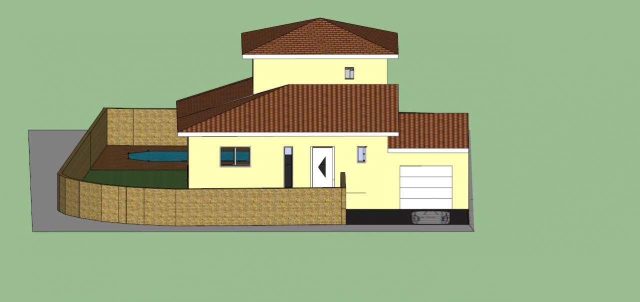 Vue générale en 3D face à la maison