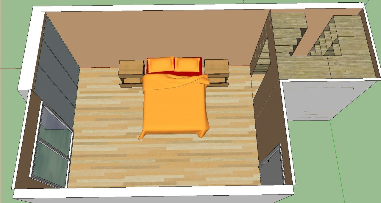 Possibilité 1: agencement de la chambre parentale (16,48m²)   dressing (3m²)