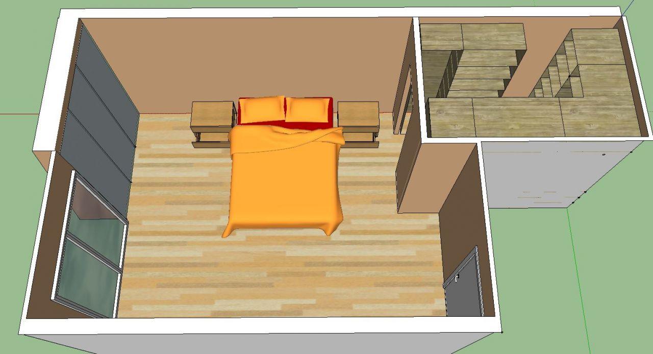 Possibilité 2: agencement de la chambre parentale (15,5 m²)  dressing (3,82 m²)