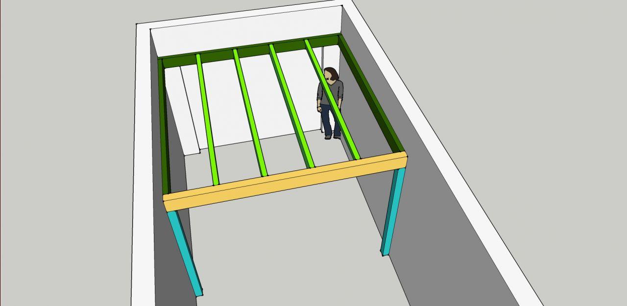Cr ation mezzanine dans garage dimensionnements 5 messages - Construire un plancher bois dans un garage ...