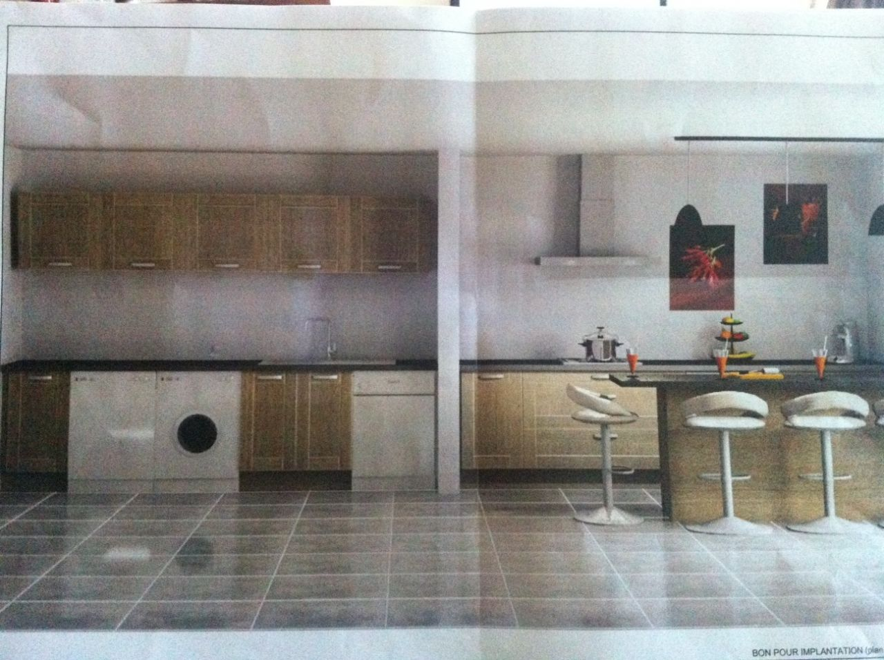 cuisine ouverte côté salon a droite <br /> cuisine / arriere cuisine à gauche