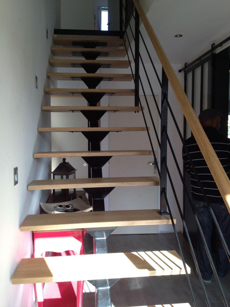 Escalier metal bois vos conseils p marches vitrage etc 5 messages - Escalier bois droit pas cher ...