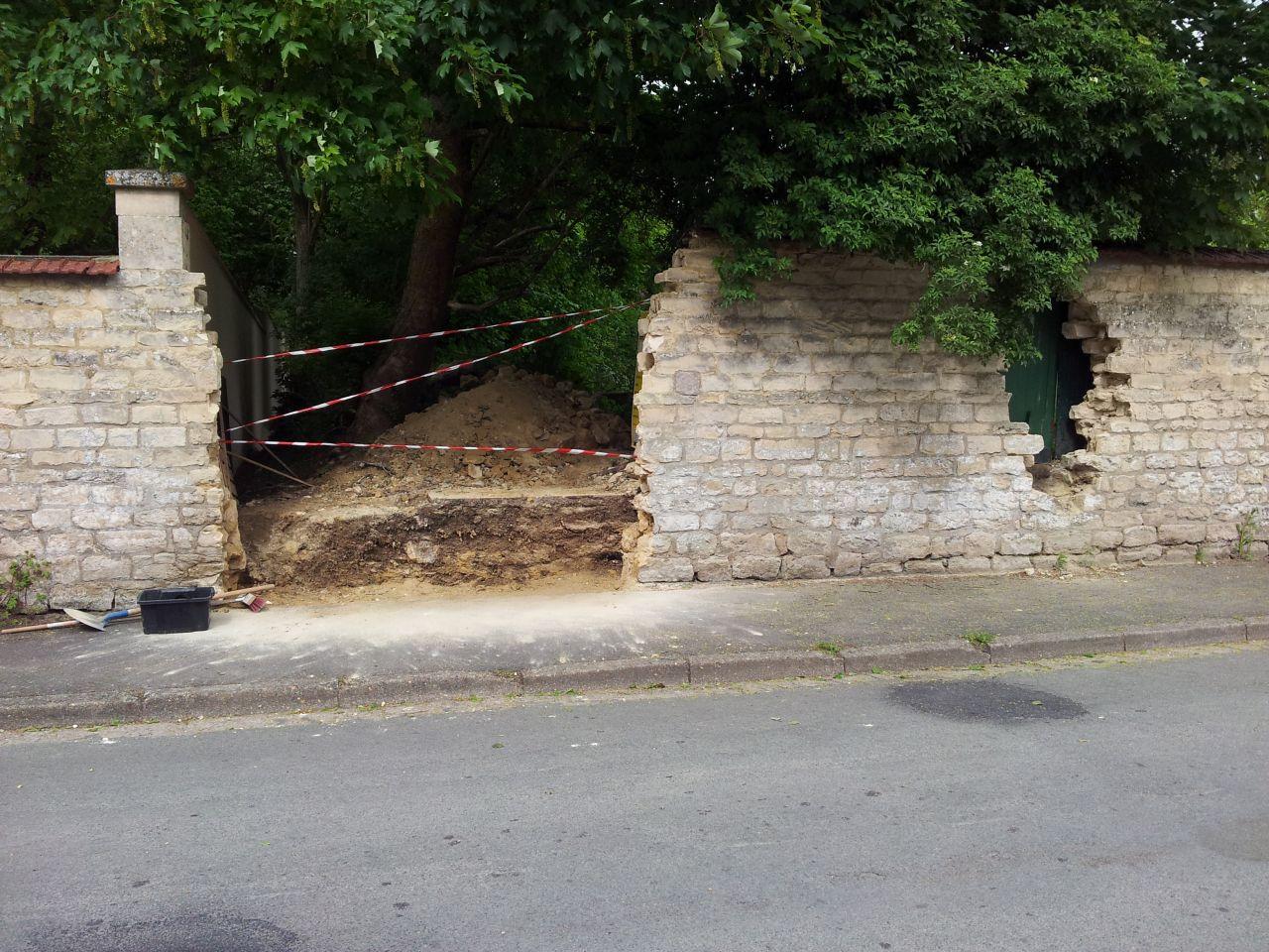 Fin d'ouverture du mur