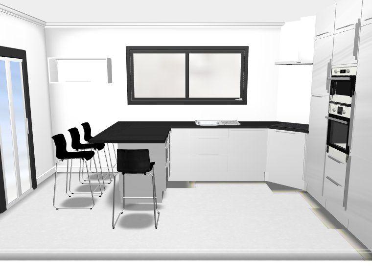 Cuisine ikea abstrakt blanc avec retour repas votre avis for Cuisine avec retour bar
