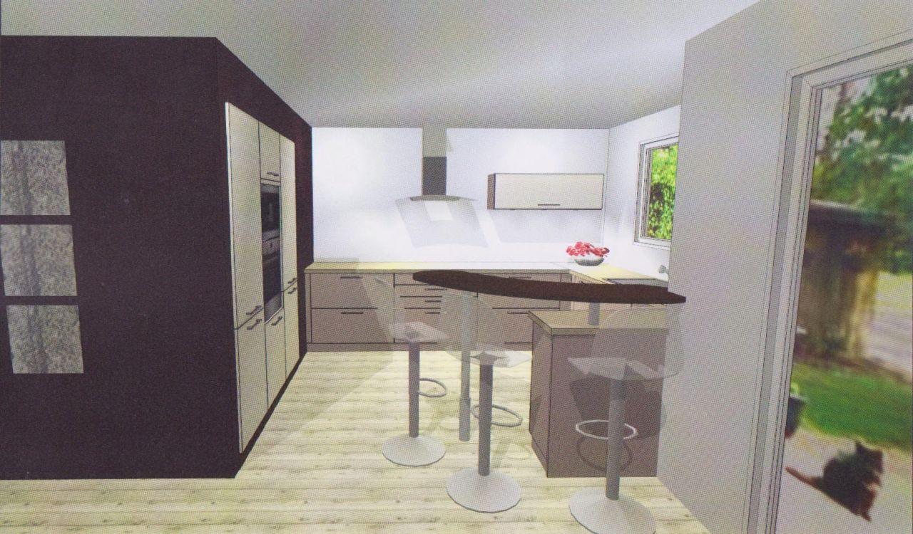 """Plan 3D de la cuisine, vue du salon (l'angle de vue de la photo est plus large que la vision humaine, ce qui donne une impression plus """"petite"""" que ce qu'on verra en réalité)"""