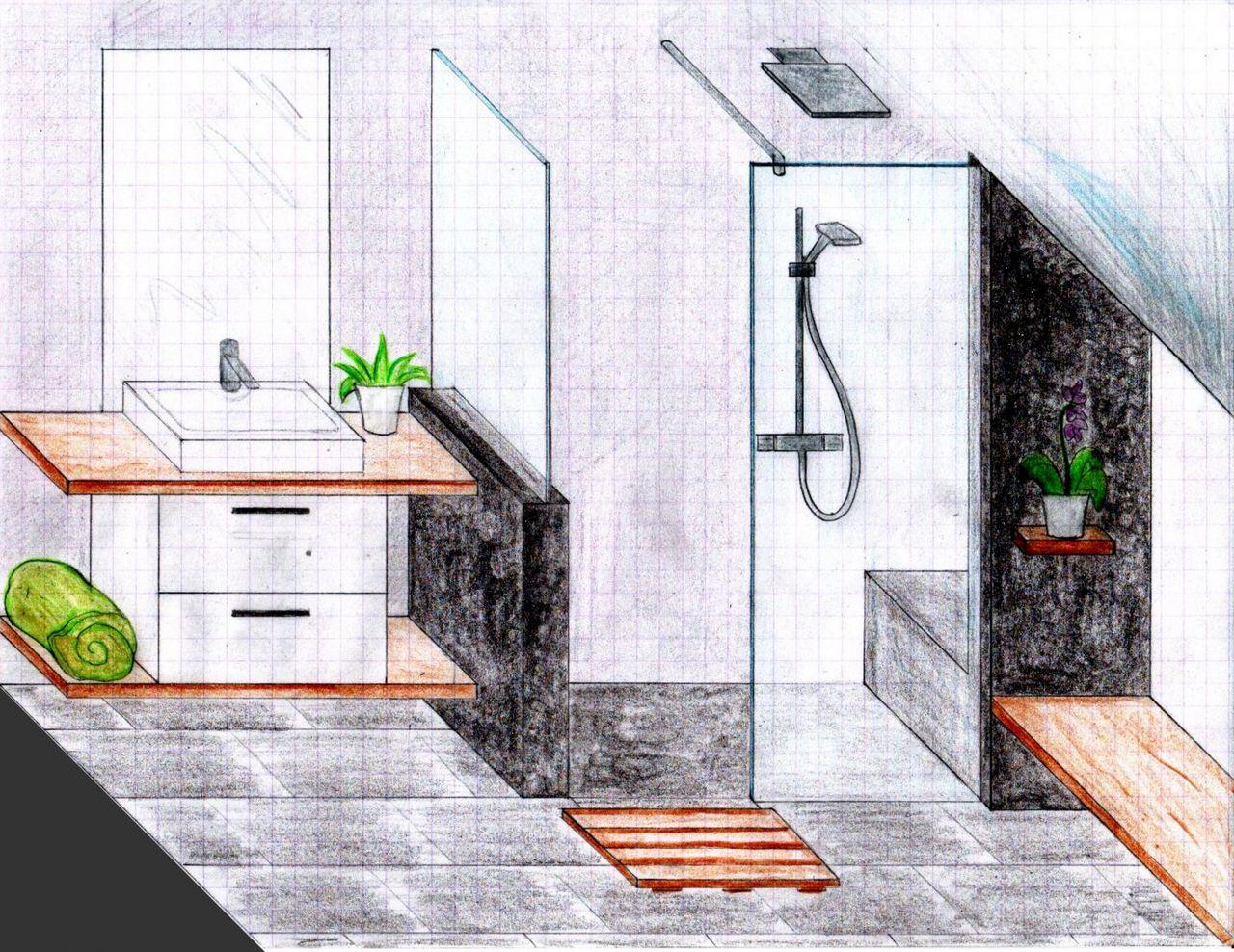 Photo dessin en vue 3d de la salle d 39 eau parents for Dessin salle de bain 3d