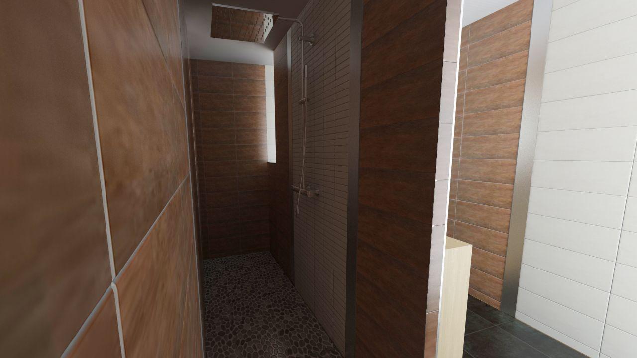 Une vision beaucoup plus proche de ce que sera la salle de bain, ici la partie douche italienne avec la véritable colonne de douche qui sera implantée