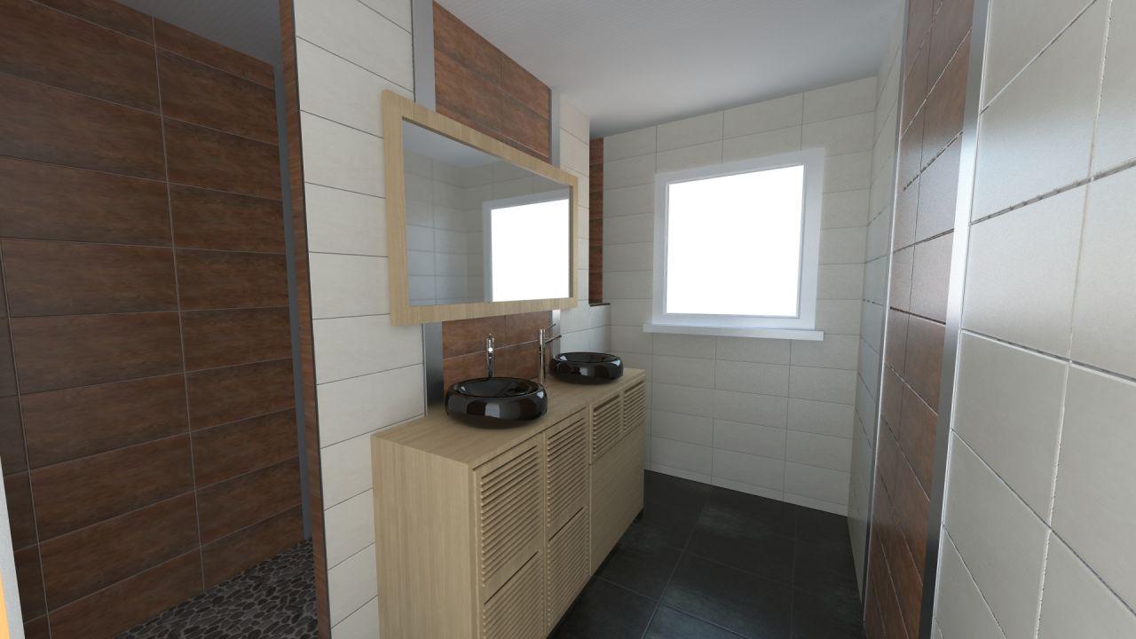 La partie salle de bain vasque. Il s'agit du vrai meuble, des véritables vasques et robinets ainsi que du vrai miroir déjà en notre possession et modelé en 3d.