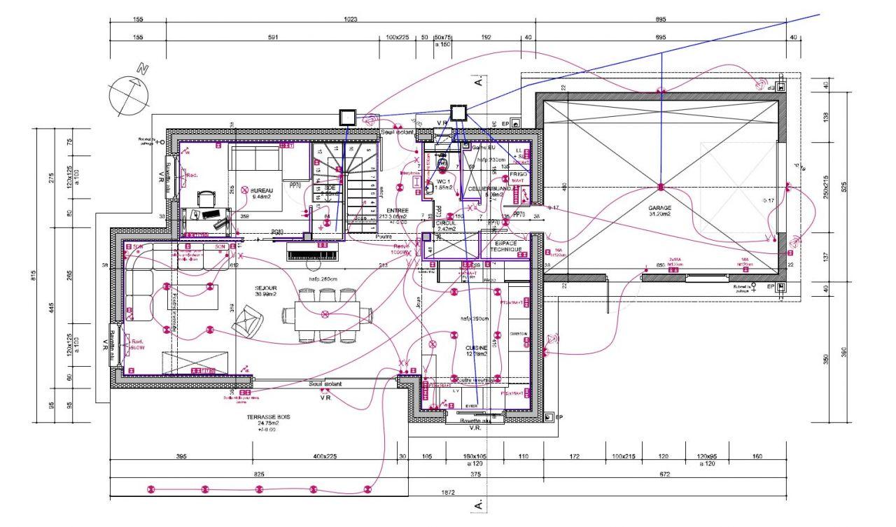 Plan du Rez de Chaussée <br /> Dans la derniere version, &quot;l'espace technique&quot; est légèrement modifié... mais globalement ce plan est quasiment le plan final