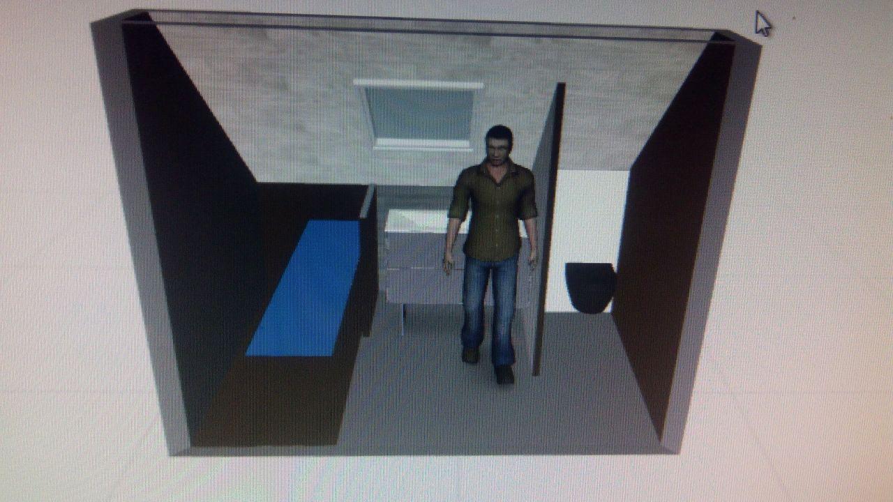 idée de la salle de bain à l'étage; porte face au personnage ouvrant vers les wc