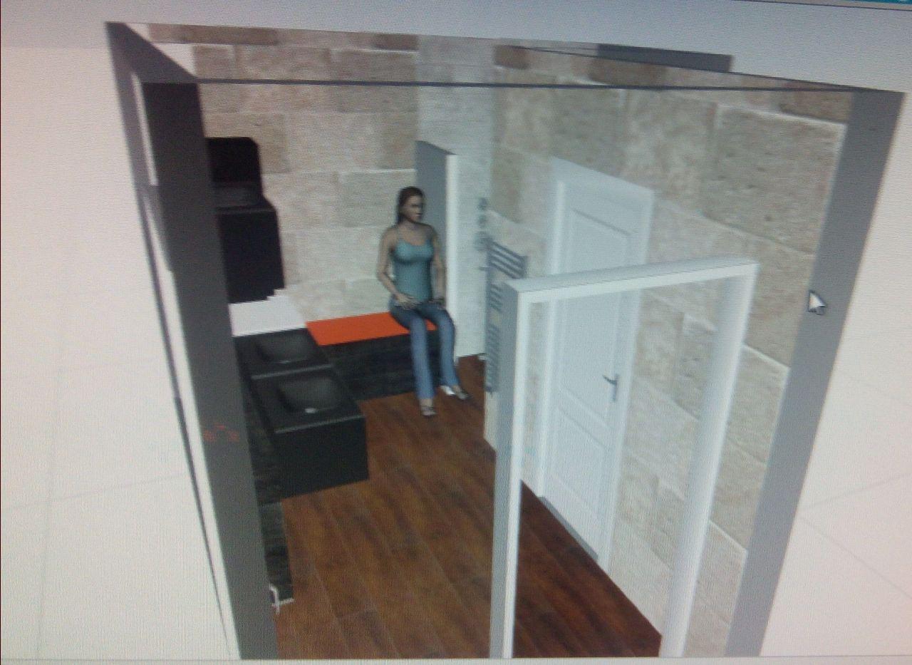 idée de la salle de bain rdc; le banc sert de bac à linge , situé à côté du lave linge; face à la porte, la porte fenêtre pour accéder au fil à linge