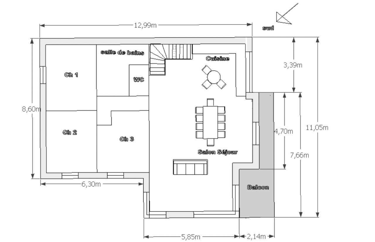 Maison 110 m2 avec sous sol 6 messages - Plan maison 110m2 etage ...