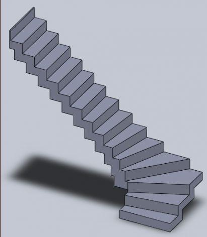 Modélisation 3D escalier béton à crémaillère