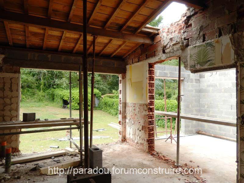 percement de la baie vitrée et de l?accès à l'extension