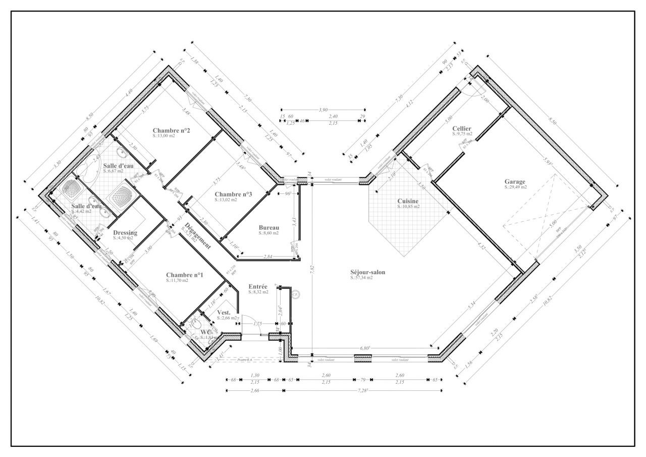 Plan de maison plain pied en u avie home for Plan maison en u