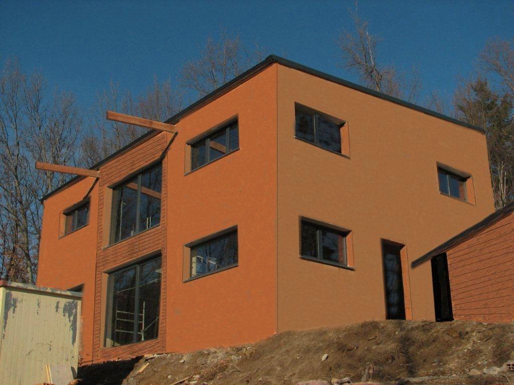 Idée de teinte et d'habillage bois pour la façade