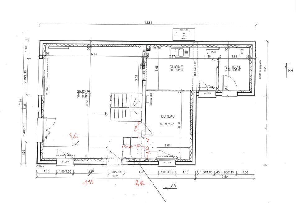 PC Modificatif RDC avec WC côté bureau