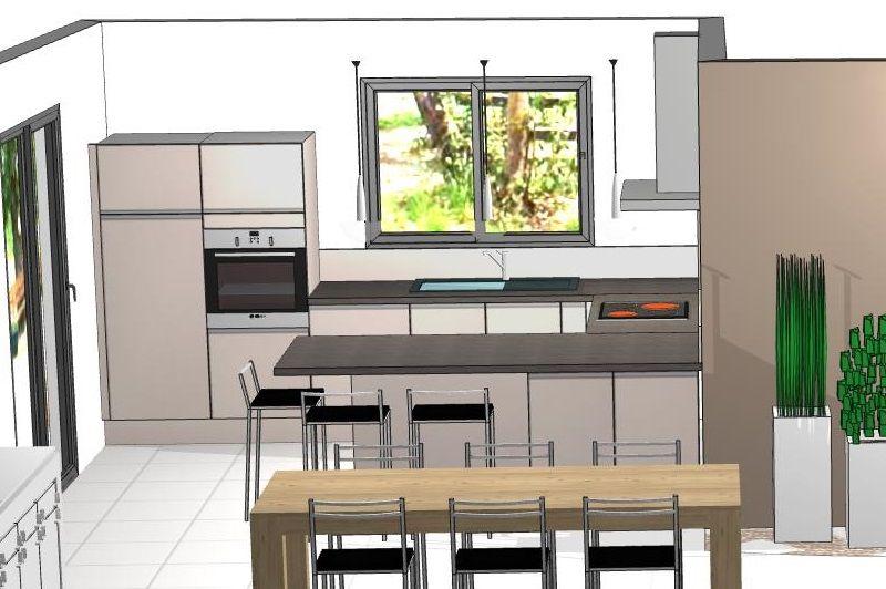 Cuisine MOPALBA, modèle KIFFA PURE LINE, couleur façades : sable satiné, plans de travail : travertin foncé structuré, poignées : inox