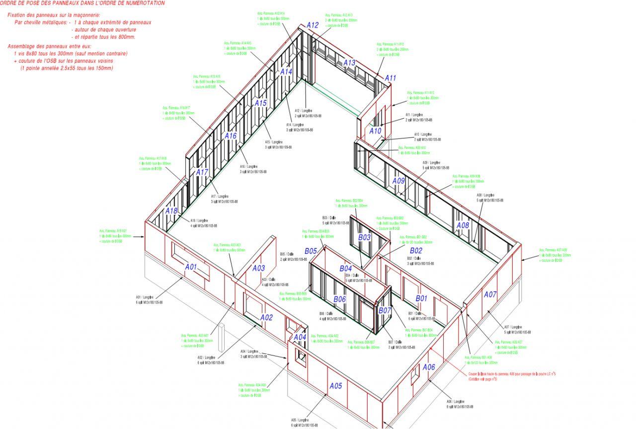 Montage Ossature Bois - Photo plan de montage ossature bois Plan de maison Marne (51)
