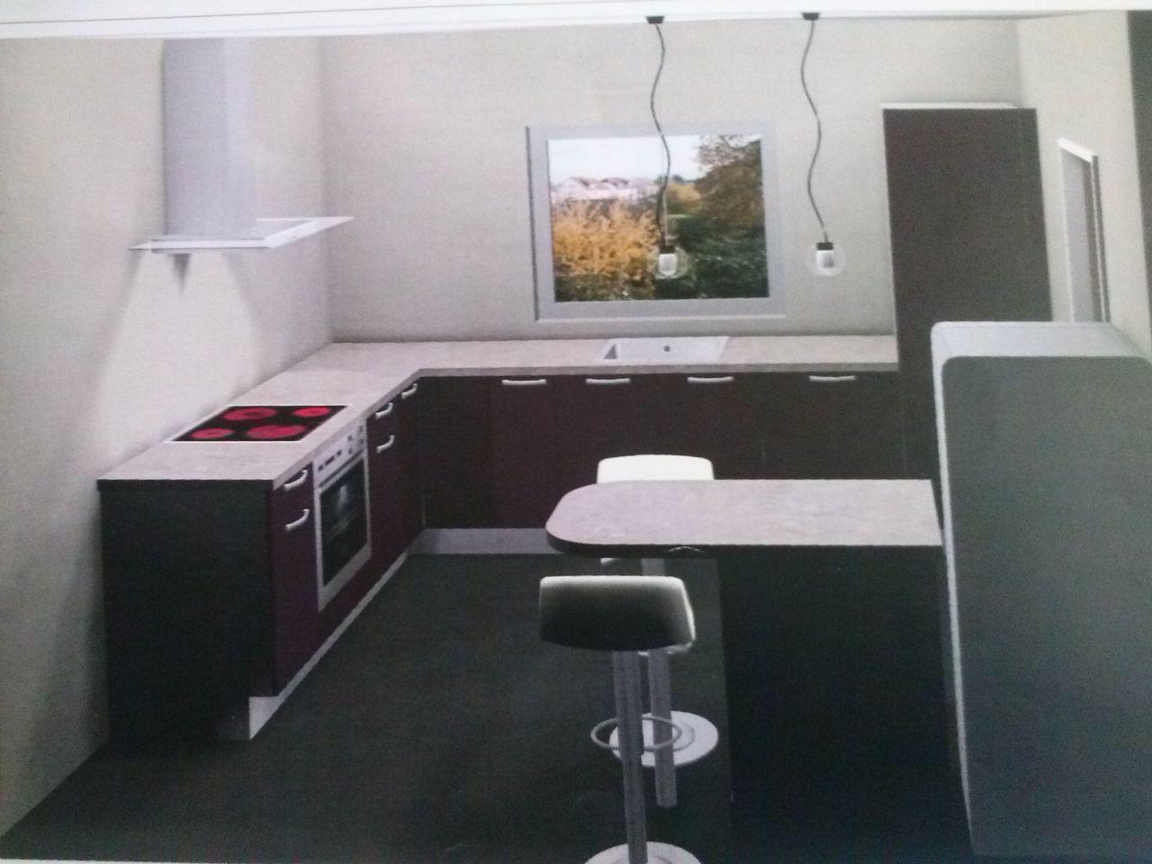 cuisine fonctionnelle, ouverte sur le séjour avec coin repas, une partie sera dissimulée par un mur de 65 cm de largeur pour y mettre le frigo que nous ne sommes pas obligés de prendre encastré car non visible du séjour.