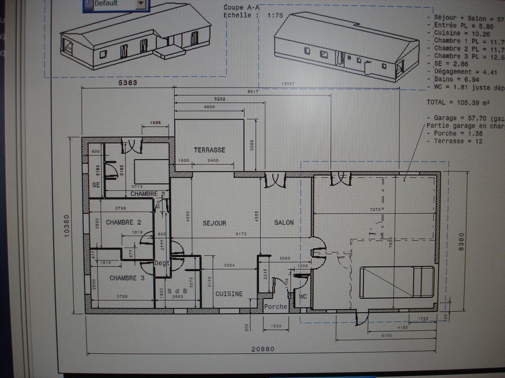Plan maison plain pied 105 m2 garage 57m2 for Plan maison bioclimatique gratuit