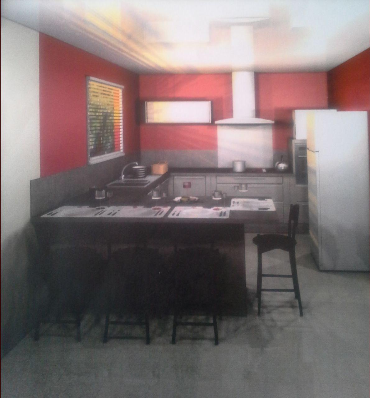 Vue 3 cuisine Hygena <br /> Le frigo sera encastré dans le mur!!