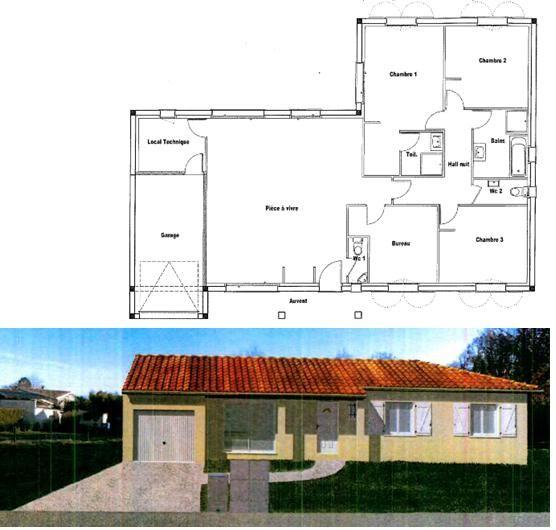 Avis sur plan maison plein pied en l avec toiture 3 pentes for Plan toiture maison