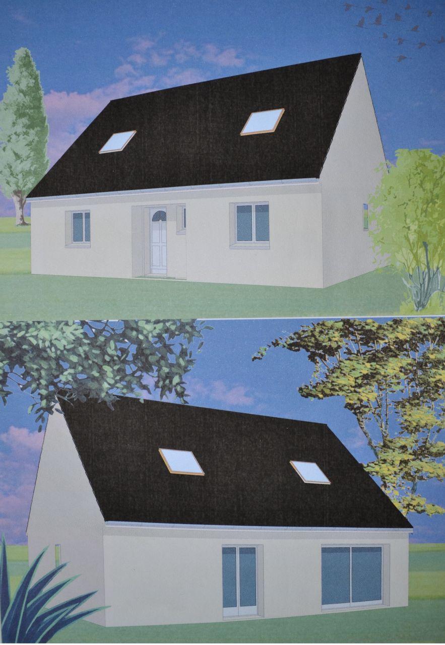 Vue d'ensemble mais sans la visualisation du sous sol avec deux entrées sur la droite de la maison